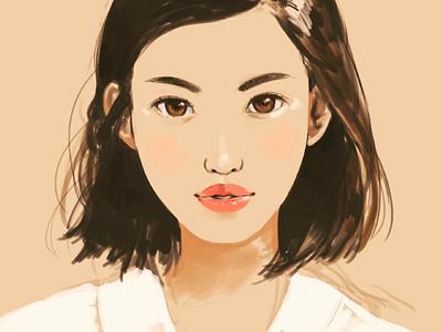 Lipstick lips face drawing photoshop painting illustration girl portrait