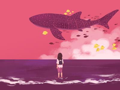 Dream whale shark sky pink dream illustration beach fish