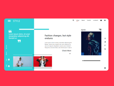 Another landing page design for fashion blogging website.