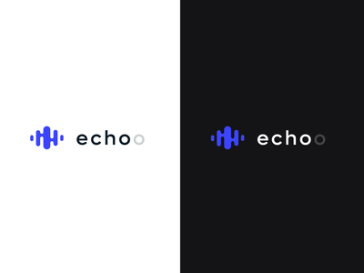 Echoo logo dark light app music concept design logo playground