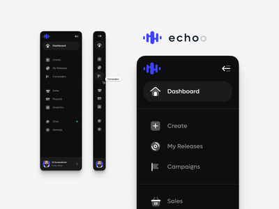 Echoo - menu floating icons ui ux music concept design dashboard menu playground