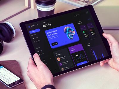 Echoo - Admin dashboard design admin design ux ui concept design campaign monitor music panel tool minimal dark dark mode admin dashboard admin dashboard