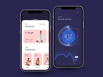 Health - workout app blender 3d 3d design playground ux ui sport woman concept design workout app healthcare health app