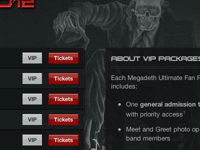 Events Listing foundation perch buttons list background gigantour music metal megadeth