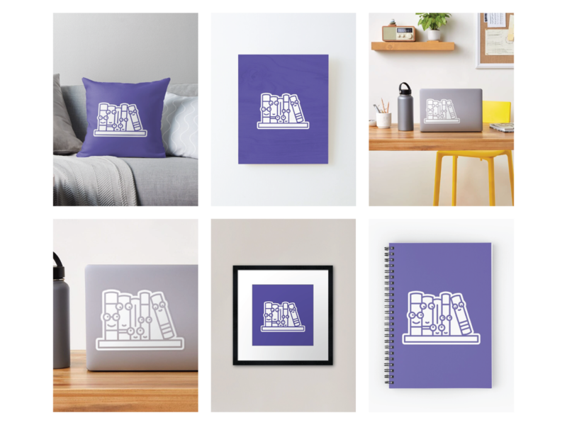 Books on a shelf redbubble illustration faces characters cute character icon adobe graphic