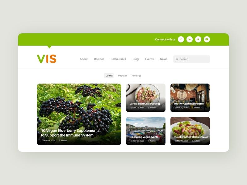 Vegan Blog flat web minimal design illustration ux ui