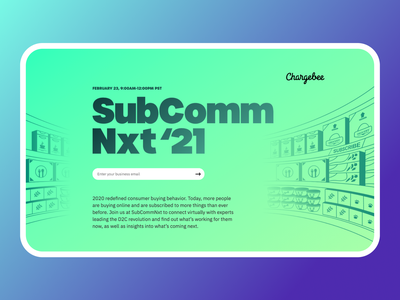 Landing Page for SubComm Nxt'21 Event visual design graphic design layout banner typography conference landing page webdesign