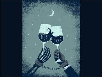 Destroyer gig poster etsy turf club st paul mpls have we met despair night moon destroyer wine skeleton texture design music screen print gig poster illustration