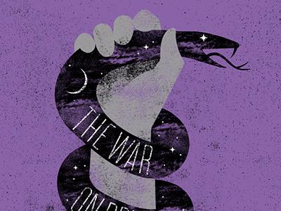 Up All Night screenprint sky snake moon night music illustration gigposter