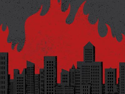 Do As Romans Do screenprint minneapolis skyline flames illustration gigposter
