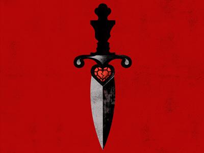 Romeo & Juliet shakespeare knife theater illustration