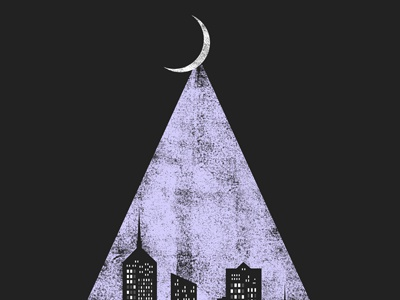 Downtown's Lights downtown screenprint city moon illustration gigposter