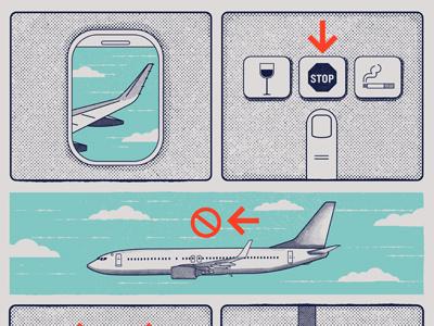 Hysteria airlinesafety airplane kurtvile minneapolis design music screen print gig poster illustration