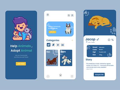 Pets Adoption App vector ux ui graphic design design app
