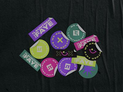 Launtner Faye Stickers personal branding personal brand stickers letterlogo lettermark logo design graphic design abstract logo branding brand identity