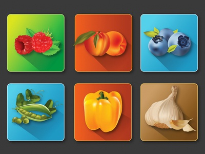 Vector icons of fruits and vegetables