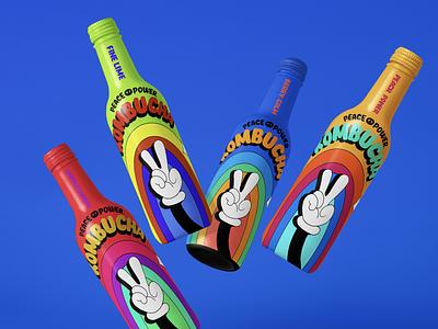 PEACE POWER KOMBUCHA kombucha packaging kombucha energy drink candesign logodesign logo illustration drinkbranding design branding