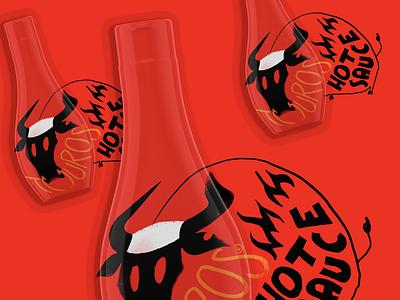Touros HOT SAUCE design bottle label bottle advertising campaign fooddesign typography illustration logo logodesign design branding