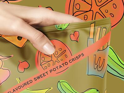 DIFFLES - DIFFERENT CRISPS sweetpotato chips fooddesign logo typography illustration drinkbranding design branding