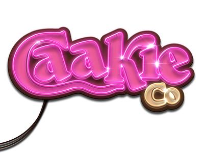 Caakie Neon wordmark logo caakie caakieco cake wordmark icon procreate fooddesign typography illustration advertising campaign logodesign logo design branding