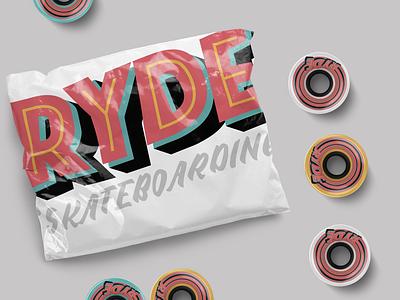 RYDE SKATEBOARDING typography branding skater type graphics logo santacruz wheels skate ryde skateboarding