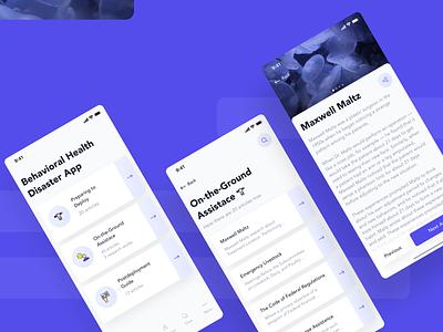 Behavioral Health Disaster App behavior health interface app design design ux ui
