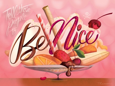 On Manners illustration illustrator digital fruit design type typography lettering candy dessert pink humor etiquette mean nice color funny hand lettering ice cream