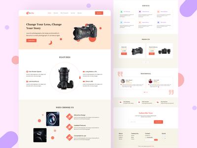 Camera : Single Product Landing page ux website website web app web ui ux typography camera single product landing page minimal single product landing page ui landing page design landing page concept landing page clean design cards app branding