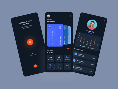 Mobile Banking App UI banking finance app application design dark ui online banking banking app clean ui dark mobile app 2020 trend uiux minimalist application app