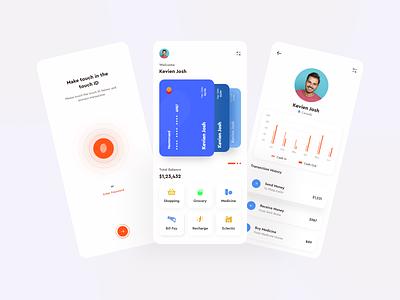 Mobile Banking App UI - Light Version uiux online banking mobile app minimalist finance app ui clean ui banking application design application app 2020 trend