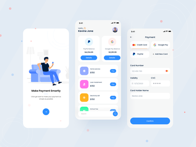 Payment Mobile App ui design ux design illustration character card pay payment app paypal clean minimal minimal app mobile app product design typography shipping onboarding tab list payment ecommerce