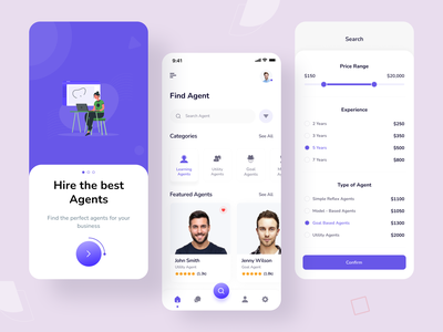 Agents Finding Mobile App finding app ecommerce real estate agent ui  ux bank mobile app clean ui trend minimal filter profile find onboarding cart price range agent app list tab search