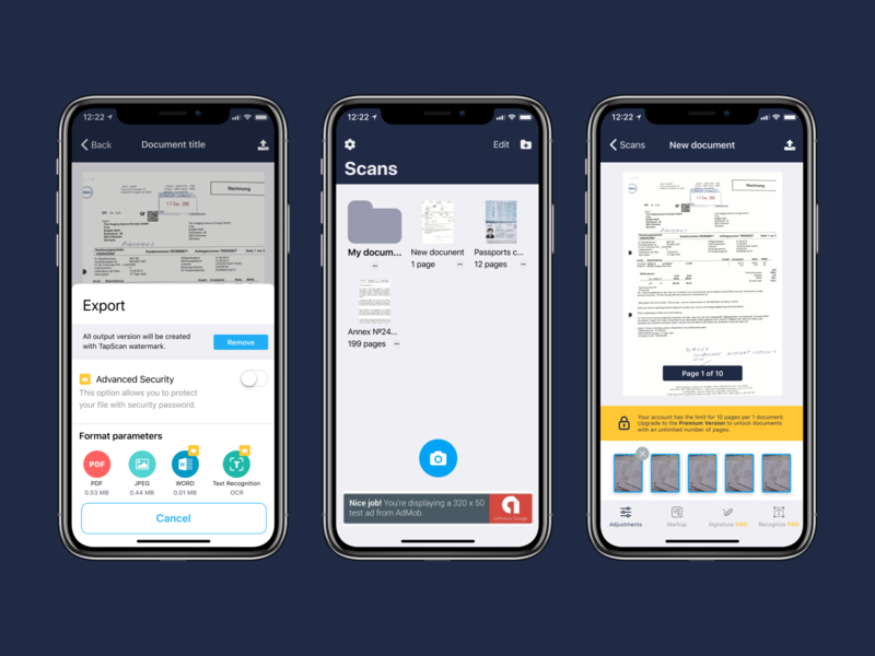 iOS Scan app design