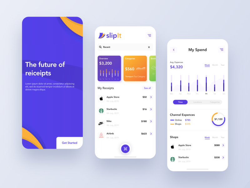 Receipt app design concept yellow ux ui wallet scanning receipt scan purple illustration graphic design app design concept clean app