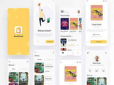 Book sharing app Design yellow clean uiux ux ui logo concept onboarding login illustration mobile app mobile design app share books