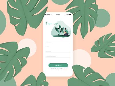 Daily UI 001 | Sign-up Page | iPlant sign up green plants minimalist dailyui 001 dailyui web minimal ui branding app