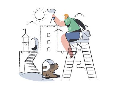 Mixology illustrations character design dog beach building castle sand illustrator sketch figma ux landing page people vector character design illustration