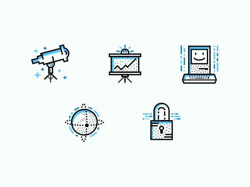 Icon Set for ZenMate's About Us Page internet globe telescope macintosh padlock privacy security vpn zenmate glyphs flat iconset