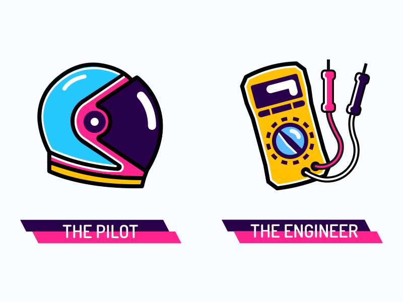 Character Talent Icons (2 of 4) vivid pilot multitool illustrations icons engineer colourful astronaut