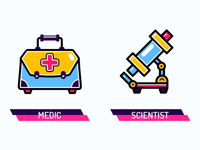 Character Talent Icons (4 of 4) medical vivid microscope science illustrations icons suitcase colourful medic
