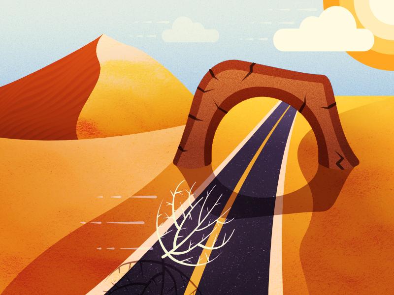 404 Page - Illustration Exploration desert desolate illustration tumbleweed road dunes sand 404