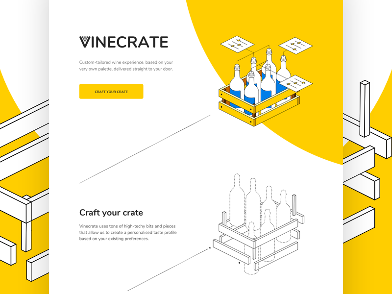 Vinecrate isometric illustration visual ux ui landing page web design