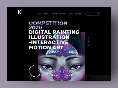 D-OPEN illustration typography logo d-open art digital painting landing page website design ui xnhan00