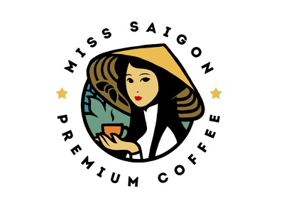 Miss Saigon  xnhan00 coffee logo miss saigon branding package illustration character