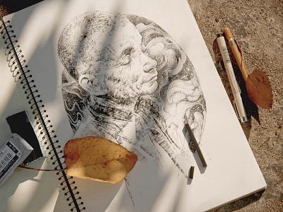 Monk artwork portraitart work xnhan00 sketch pencildrawing portrait art drawing