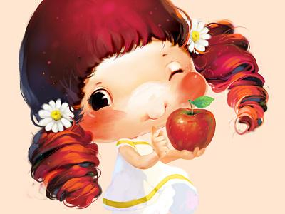 Little girl label xnhan00 red illustration apple little girl