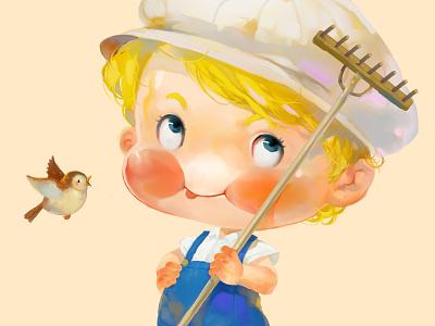 Blond boy bird little boy xnhan00 yellow label illustration apple