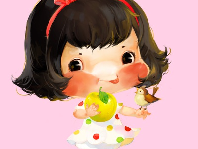 Brown Girl yellow xnhan00 girl little label illustration bird apple
