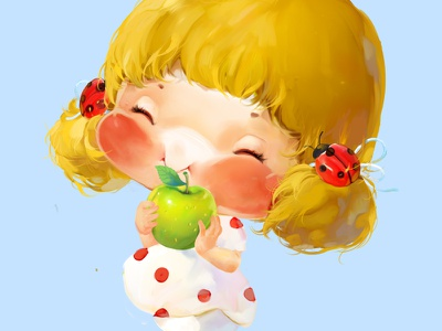 Blonde Girl yellow xnhan00 little label illustration girl apple