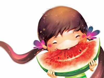 Watermelon illustration childrens
